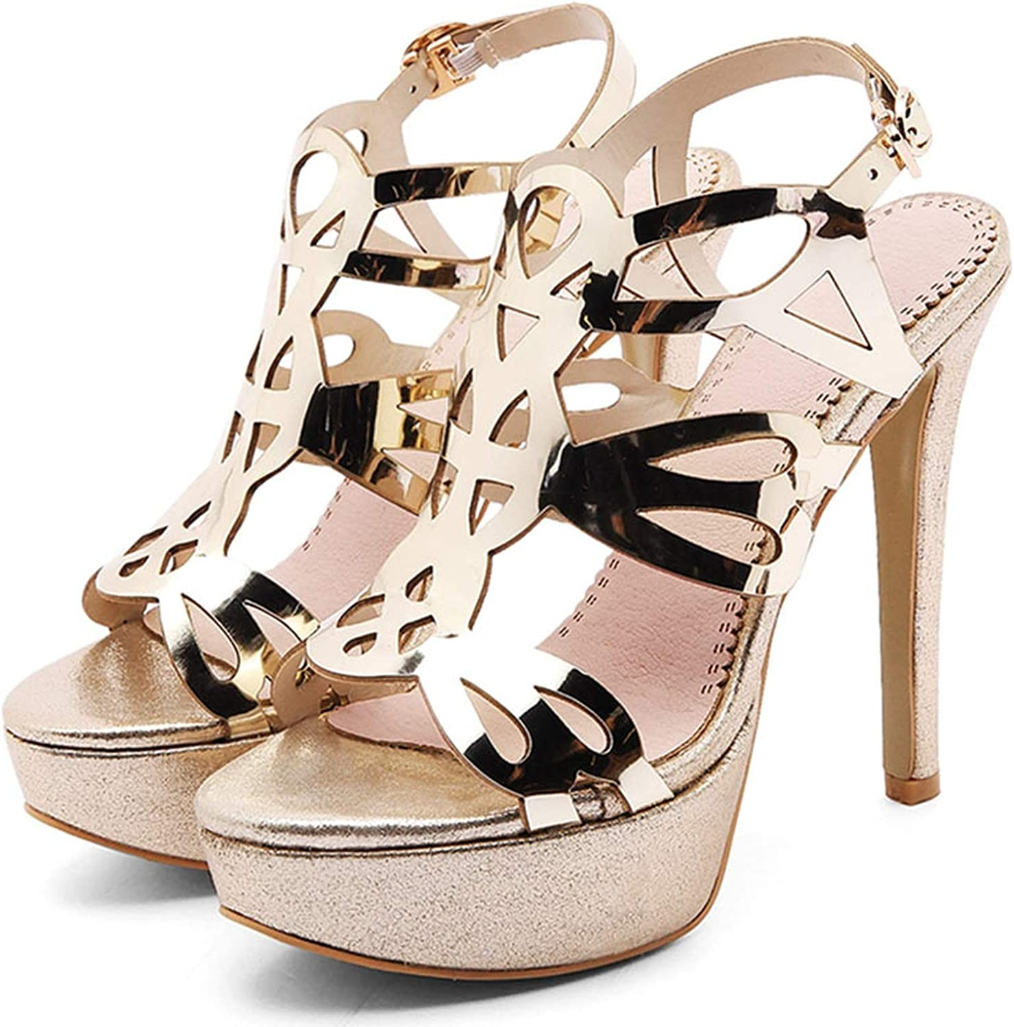 Women Cut Out Open Toe Party Sandals Ladies Sexy Platform High Heel shoes,gold,10