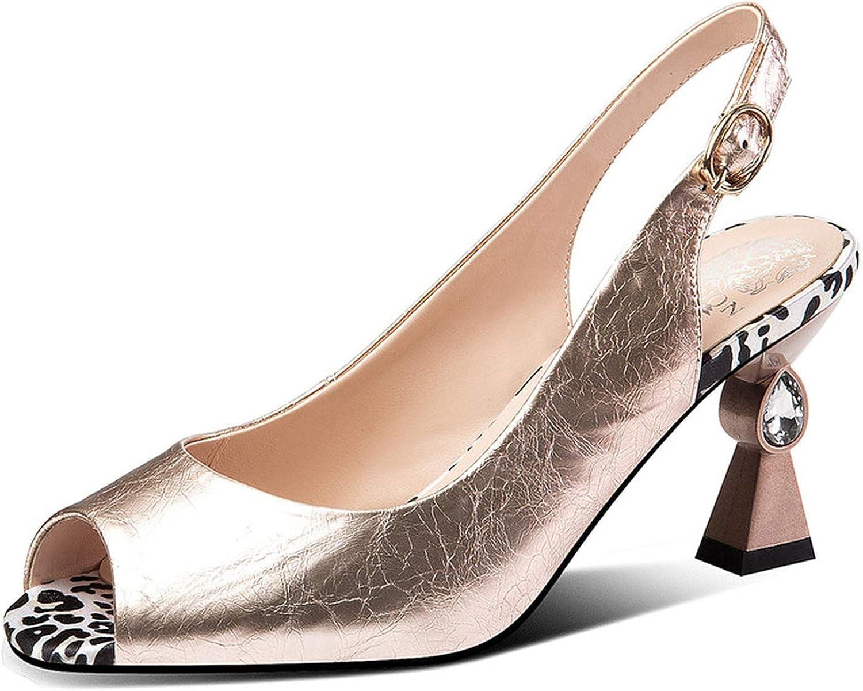 Longbao Fashion Vintage Genuine Leather Women Sandals 2019 New Peep Toe Strange Heels Party Prom shoes Woman