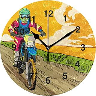 Jojogood Let's Ride Dirt Bikes Clock Wall Decor Acrylic Decorative Round Clock for Home Bedroom Living Room Art
