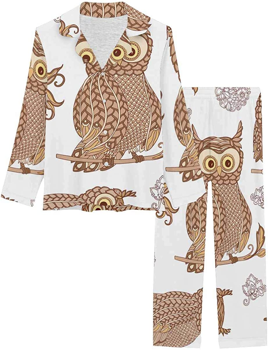 InterestPrint Women's Pajamas Set Long Sleeve with Long Pants XS-XXL Decorative Owl
