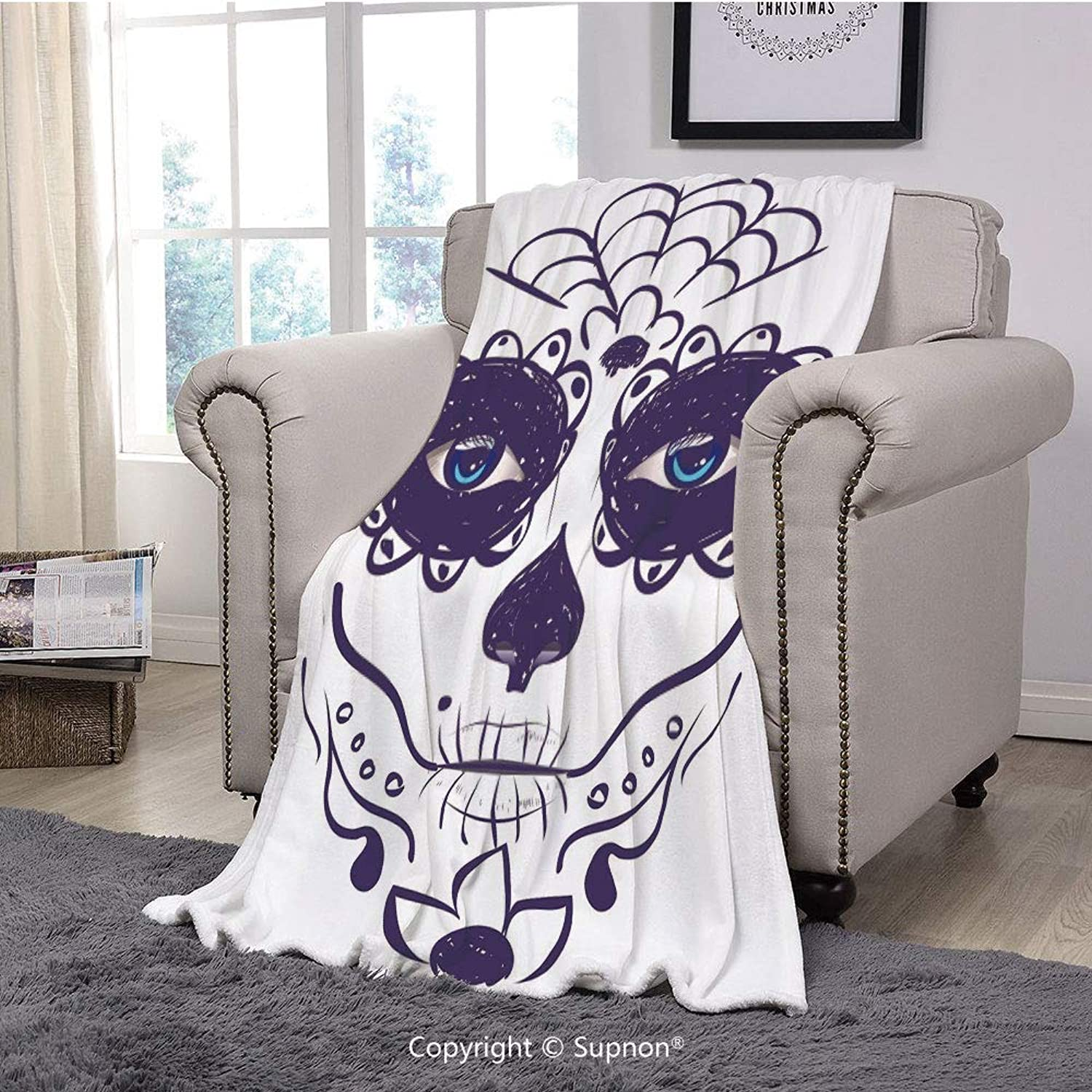 Throw Blanket Super Soft Fuzzy Light Blanket,Day of The Dead Decor,Dia de Los Muertos Sugar Skull Girl Face with Mask Make up,Black White and bluee(51  x 51 )