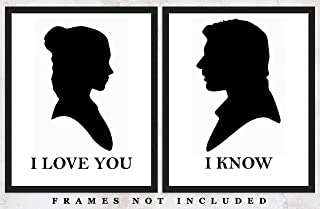 Hans Solo and Princess Leia Typography Wall Art Prints: Unique Room Decor for Boys, Girls, Men & Women - Set of Two (8x10) Unframed Pictures - Great Gift Idea for Star Wars Fans