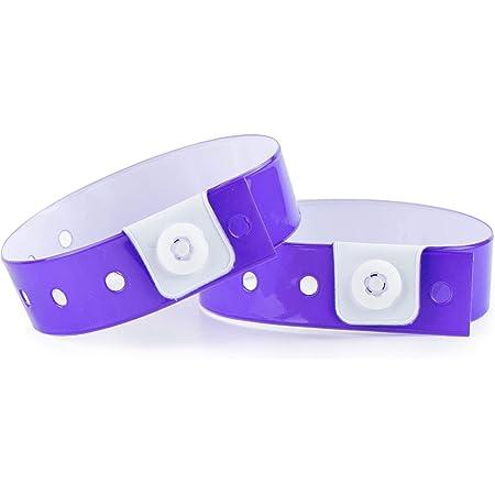 Lot de 100 bracelets plastique/vinyle pour événements - étanche (Violet)