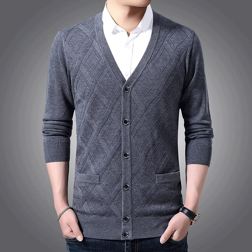 JJZXC 6% Wool Sweater Men Cardigan Slim Fit Jumpers Knitwear Jacquard Winter Casual Men Clothes (Color : Gray, Size : L Code)