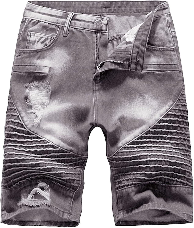 Men's Fashion Pleated Ripped Moto Holes Denim Short Vintage Biker Slim Jean Short Stylish Straight Fit Jeans Shorts