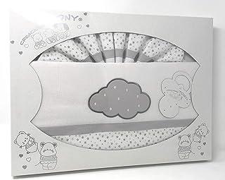 Triptico de Sabanas Coralina MAXICUNA - Color blanco-gris 80 x 140 gris .Danielstore 13601 Bajer+encimera+funda almohada
