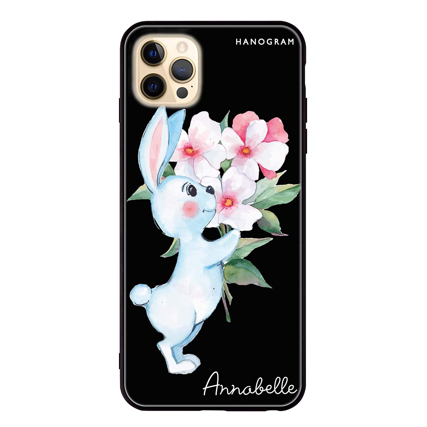 Rabbit And Flowers Tucson Mall iPhone 12 Max Pro Glass Max 74% OFF Case iPho