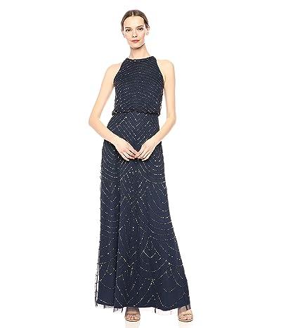 Adrianna Papell Halter Art Deco Beaded Blouson Dress