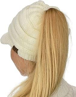 BeanieTail Warm Knit Messy High Bun Ponytail Visor Beanie Cap