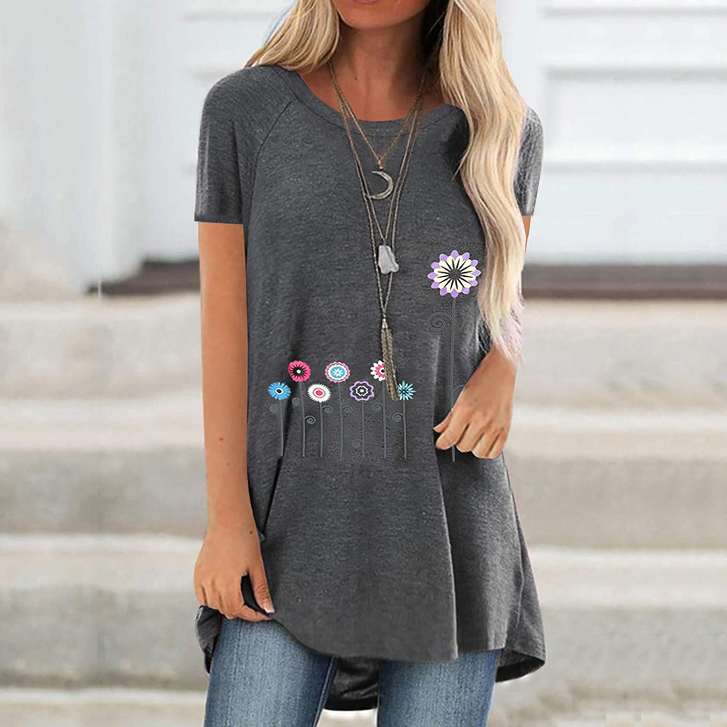 Women Print T-Shirt Short Sleeved V-Neck Long Blouse Casual Loose Tops Plus Size S-5XL