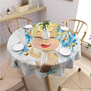 DILITECK Zodiac Aries Summer Round Tablecloth Happy Smiling Baby with Bells Tied up to His Horns Birth and Future Theme Party Diameter 60