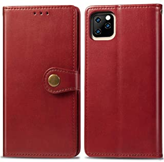 Apple Leather Case for iPhone XI, Retro Solid Color Leather Buckle Mobile Phone Protection Leather Case with Photo Frame &...