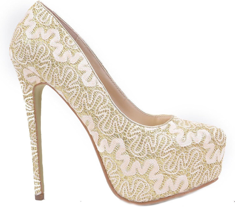Fourever Funky Lace Overlay Glitter Almond Toe Stiletto Platform Pump gold