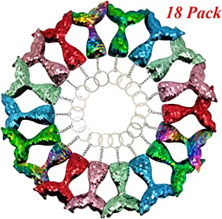 Mermaid Tail Keychain 18 Pack Flip Sequin Mermaid Keychains Party Favors for Girls Kids Mermaid Themed Birthday Party Supplies