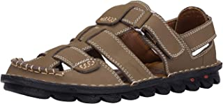 JIONS Closed Toe Leather Fisherman Mens Sandals, Outdoor Adjustable Summer Shoes