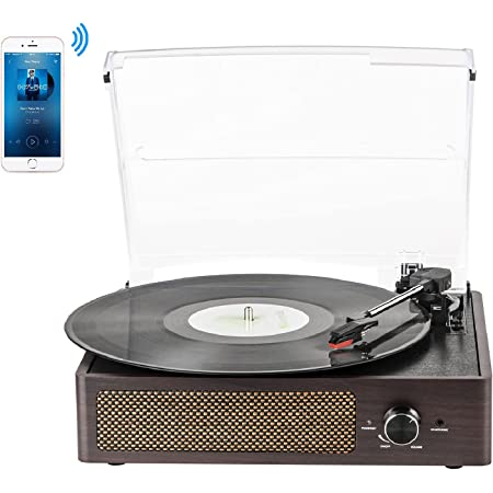 Record Player Turntable for Vinyl with Built-in Speakers 3-Speed Vintage LP Player, Support Bluetooth in/RCA Output/Aux Input/Headphone Jack