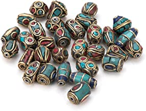 Pandahall 50PCS Mixed Antique Golden Handmade Tibetan Style Beads, Brass with Imitation Coral and Turquoise