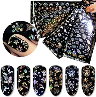 Aysekone 4 Sheets Christmas Styles Transfer Nail Stickers Nail Foil Snowflake Starry Sky Decal Flower Mix Pattern Sticker Design