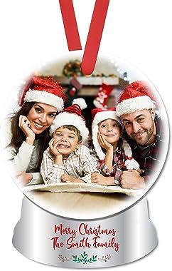 MtnGift Personalized Snowglobe Photo Ornament - Christmas Selfie Holiday Pic Memory Keepsake (4-inch Snow Globe)