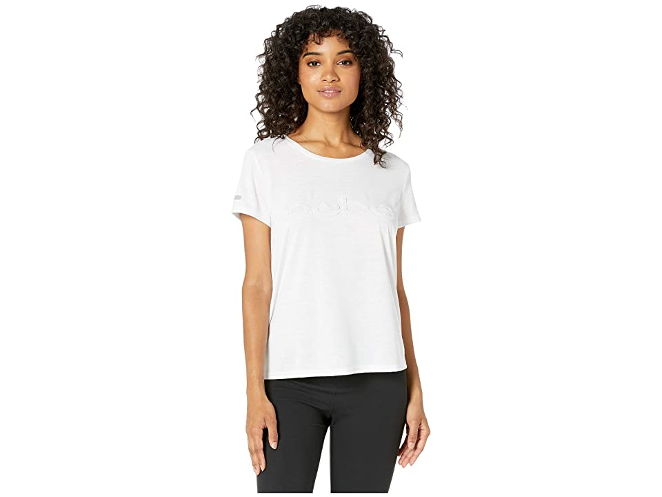 Bebe Sport Slash T-Shirt w/ Emboss Logo (White) Women