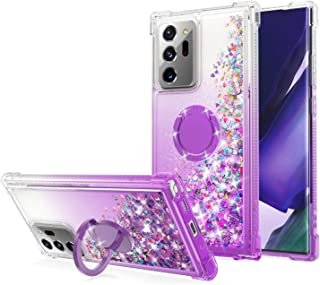 WORLDMOM Case for Samsung Galaxy Note 20 Ultra, Clear Transparent Flowing Liquid Floating Sparkle Colorful Glitter Phone C...