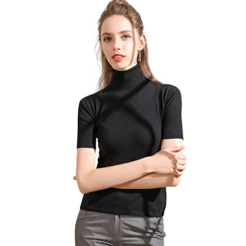 Panreddy Women s Short Sleeve Knit Sweater Top 03873d77e