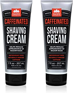 Pacific Shaving Company Caffeinated Shaving Cream - Helps Reduce Appearance of Redness, With Safe, Natural, and Plant-Derived Ingredients Soothes Skin, Paraben-Free, 7 oz (Pack of 2)