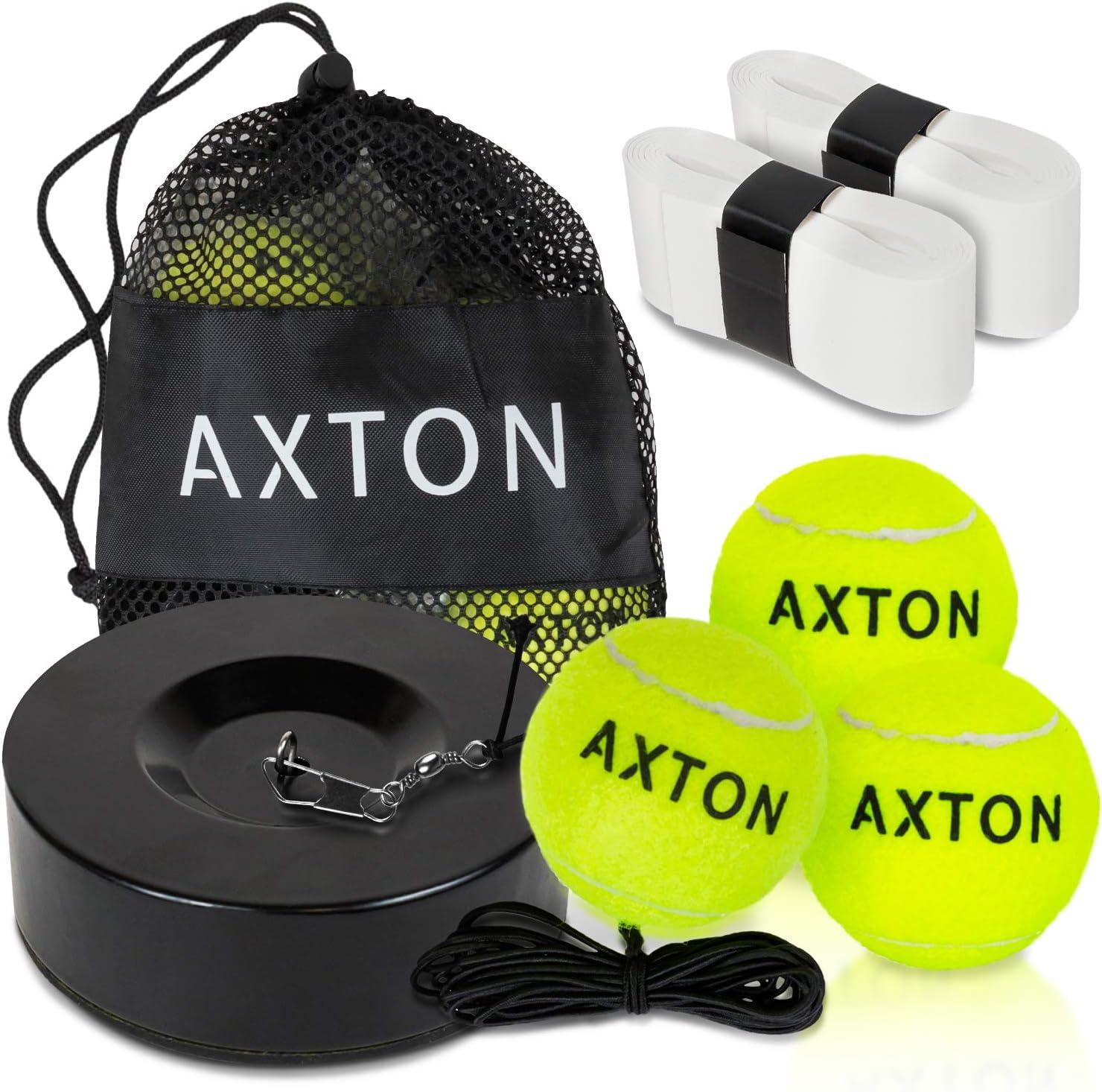 AXTON Solo Tennis Trainer Rebound Ball-Tennis Rebounder With 3 Tennis Balls-Tennis Trainer Ball With String-Tennis Ball Rebounder -Tennis Practice Equipment-Tennis Practice Rebounder- 2 Bonus Overgrip