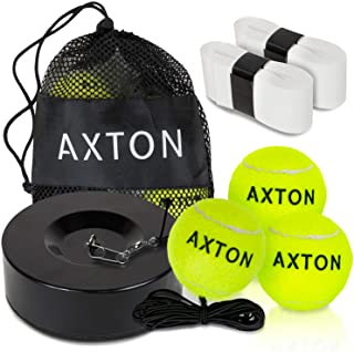 AXTON Solo Tennis Trainer Rebound Ball - Tennis Rebounder with Extra Tennis Balls - Tennis Trainer Ball with String - Tennis Ball Rebounder - Tennis Practice Equipment and Comes with Bonus Overgrips