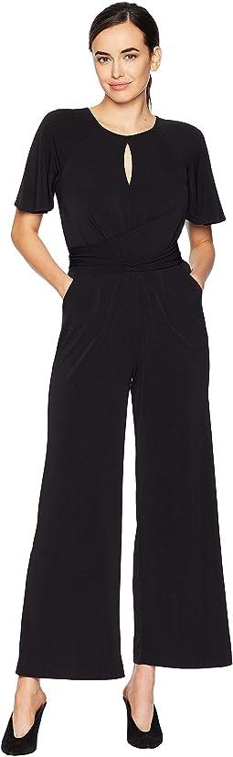 Keyhole Neck Tie Front Jersey Jumpsuit