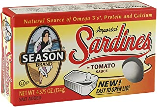 Season Sardines in Tomato Sauce, 4.375-Ounce Tins (Pack of 12)
