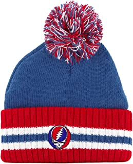 Ripple Junction Grateful Dead Steal Your Face Cuffed Pom Adult Beanie (Royal Blue)