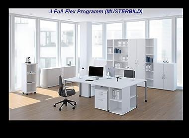 Gera Meubles 4Pieds Flex Bureau Décor Bois, lumière Gris/Argent, 120x 80x 72cm
