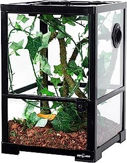 """REPTI ZOO Full Glass 10 Gallon Reptile Terrarium 12"""" x 12"""" x 18"""", Small Habitat Cage Breeder Enclosure for Reptile Lizard ..."""