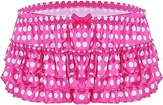 TiaoBug Men's Shiny Satin Polka Dots Tiered Ruffled Skirted Panties Sissy Crossdress Briefs Underwear Panties