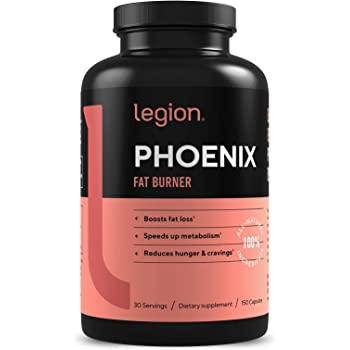 Legion Phoenix Fat Burner & Thermogenic Fat Loss Loss Pills (Caffeine Free) Appetite Suppressant - 100% Natural & Scientifically Validated Formulation with Forskolin, Naringin, More - 30 Svgs…