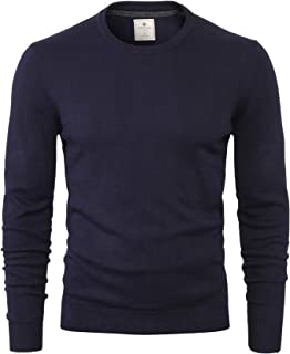 CANALSIDE Men's V-Neck/Crew Neck Pullover Sweater Soft Merino Wool Cotton Mix Knit