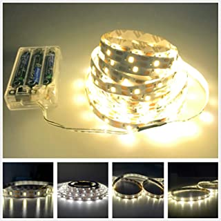 Led Strip Lights Battery Powered, Battery Led Light with Led Light Battery Powered Flexible Ribbon Light, 300leds Cool Warming-5M / 16.4ft (White) (Yellow)