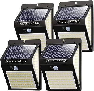 Litogo Luz Solar Exterior 140 LED【4 Pack / 3 Modos】con Sensor de Movimiento, Luces LED Solares Exteriores 270º lluminación...