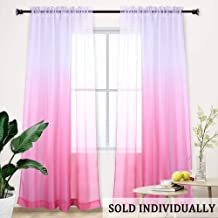 Pink Sheer Curtains for Little Girls Kids Room Bedroom Ombre Gradient Window Panel for Princess Teenage Daughter Closet-Sheer Backdrop Curtain Drape for Wedding Party Decoration 84 Inch Pink and White