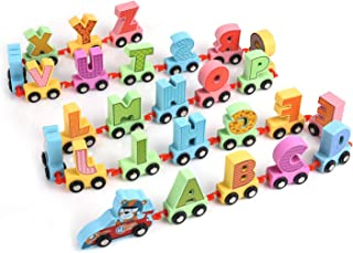 XREXS 27pcs Letter Train Wooden Alphabet Railway, Letter Alphabet Train,ABC Train Floor Puzzles,Wood Letter Train Set for ...
