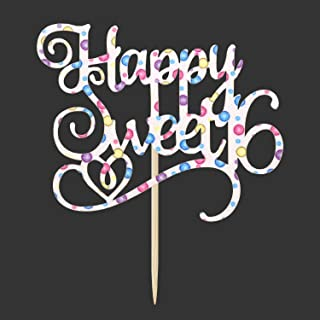 Colorful Glitter happy Sweet 16 Cake topper, Cake Decorating for Cheers to 16 Years, 16th Birthday Party Decoration Supplies