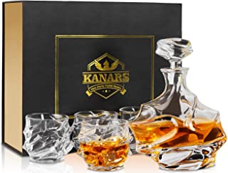 Emperor Whiskey Decanter And Glasses Set With Luxury Gift Box, KANARS Premium Lead Free Crystal Liquor Decanter Set For Irish Whisky, Scotch And Bourbon, Heavy, 5-Piece