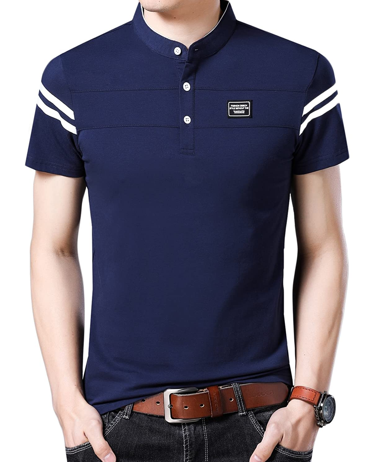 YinQ Mens Casual Slim Fit Golf Polo Shirt Short-Sleeve Polo Golf Shirts Tops