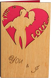 Real Wood Romantic Greeting Card You and I This is Love Top Wedding Day Dating Anniversary Engagement Marry Me Happy Birthday Wooden Gift for Him Man Husband Boyfriend or Her Woman Wife Girlfriend Us
