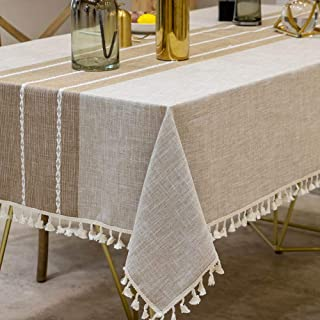 Deep Dream Tablecloths, Stitching Tassel Table Cloth,Cotton Linens Wrinkle Free Anti-Fading,Table Cover Decoration for Kitchen Dinning Party (Rectangle/Oblong, 55''x102'',8-10 Seats, Light Coffee)