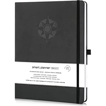 Smart Planner Daily 2021 - Achieve Goals & Increase Productivity, Time Management & Happiness - Daily Weekly Monthly Planner with Gratitude Journal, Hardcover, Undated (Black)