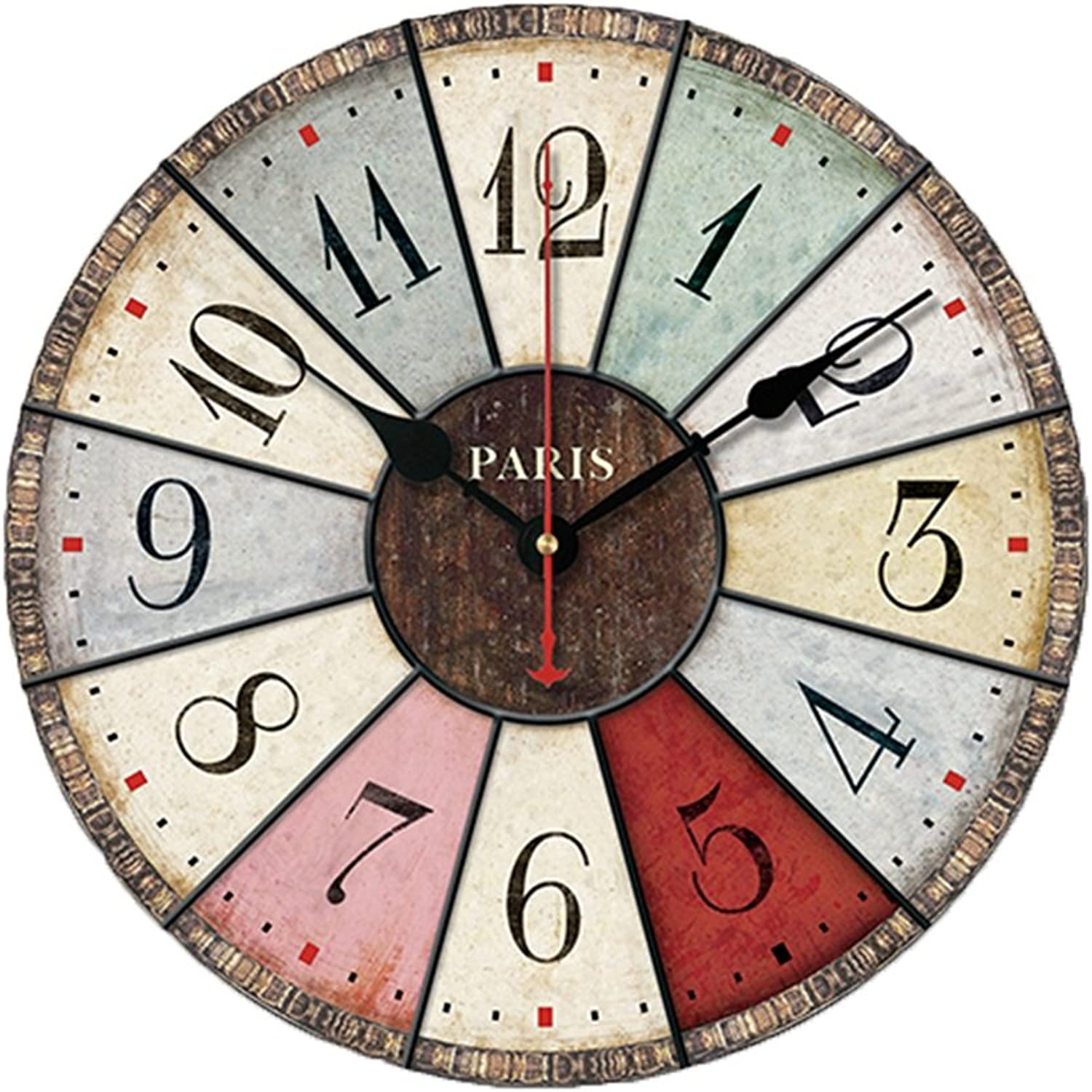 YANGZ Wooden Wall Clock, Retro Industrial Style Living Room Study Wall Chart Modern color Bedroom Silent Wall Clock (color   C, Size   30  30cm)