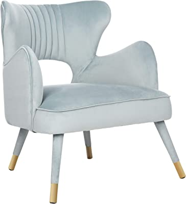 Safavieh Home Blair Retro Glam Slate Blue Velvet and Gold Wingback Accent Chair