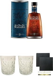 Marama Fidschi Spiced 0,7 Liter  Rum Glas 1 Stück  Rum Glas 1 Stück  Schiefer Glasuntersetzer eckig ca. 9,5 cm Durchmesser 2 Stück